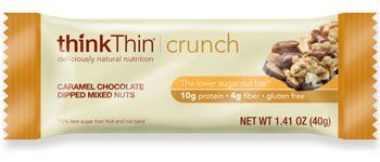 Think Thin Caramel Chocolate Dipped Mixed Nuts Crunch Bar