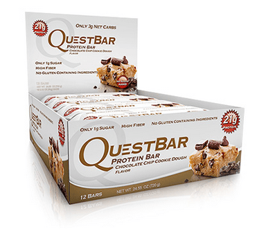 Quest Nutrition Chocolate Chip Cookie Dough Bars Box